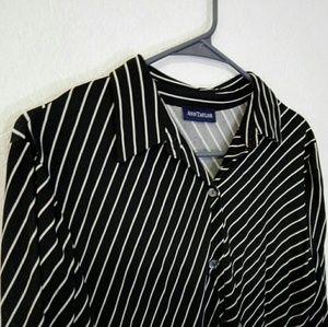 Ann Taylor Loft Striped Button Down Shirt Blouse
